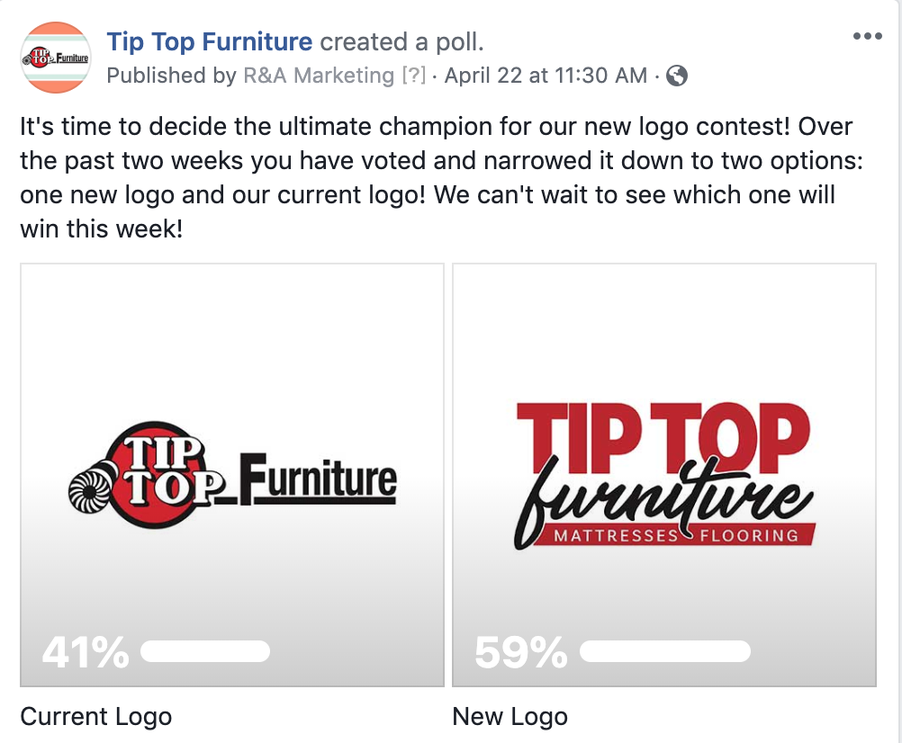 Facebook Poll for Tip Top Furniture - R&A Marketing